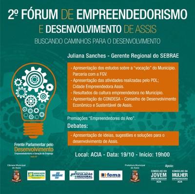 2º Fórum de Empreendedorismo será dia 19 de outubro na ACIA e discutirá o desenvolvimento de Assis